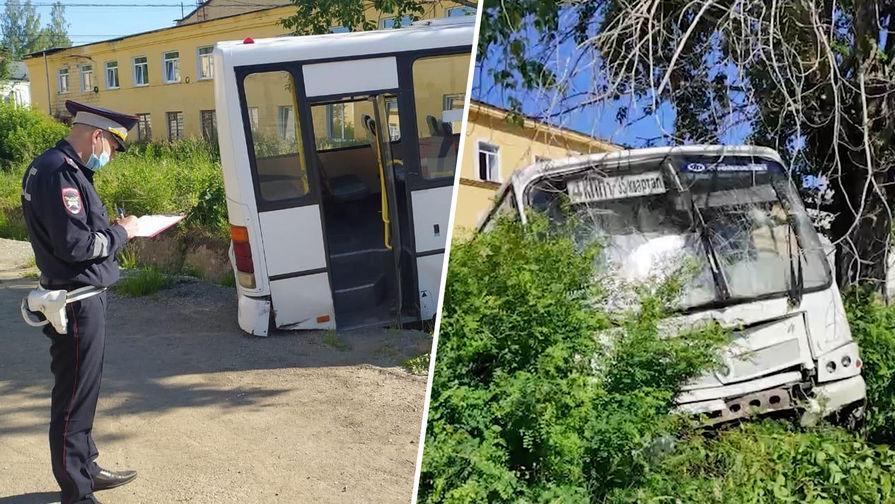 Последствия ДТП с автобусом в городе Лесном Свердловской области, 10 июня 2021 года (коллаж)
