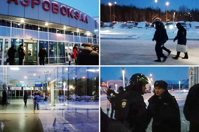 Ситуация в аэропорту Ханты-Мансийска после экстренной посадки рейса SU1515 «Сургут — Москва», 22 января 2019 года, коллаж