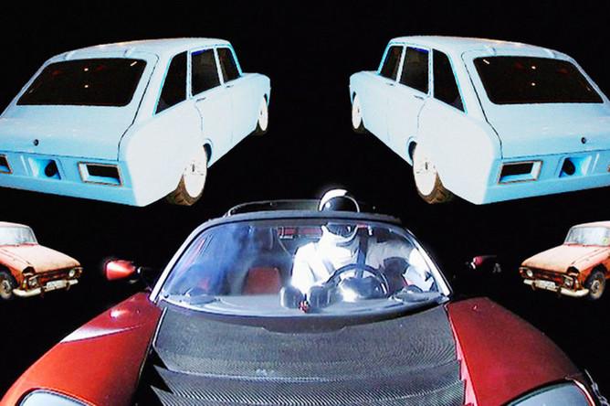 Tesla Roadster Илона Маска на орбите Земли и автомобили из Ижевска, коллаж «Газеты.Ru»