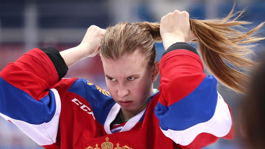 Игрок сборной России Анастасия Медведева в финальном матче Турнира шести наций в рамках этапа женского Еврохоккейтура между сборными России и Чехии, 15 декабря 2019 года