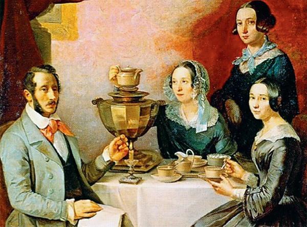 Т.Е. Мягков. Семейство за чайным столом. 1844