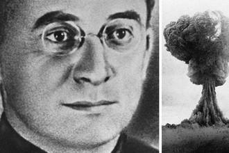 Лаврентий Берия и ядерный гриб наземного взрыва РДС-1 29 августа 1949 года (справа)
