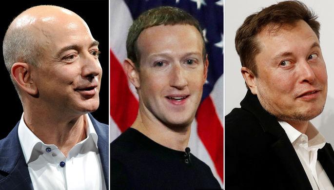 Джефф Безос, Марк Цукерберг и Илон Маск (коллаж)