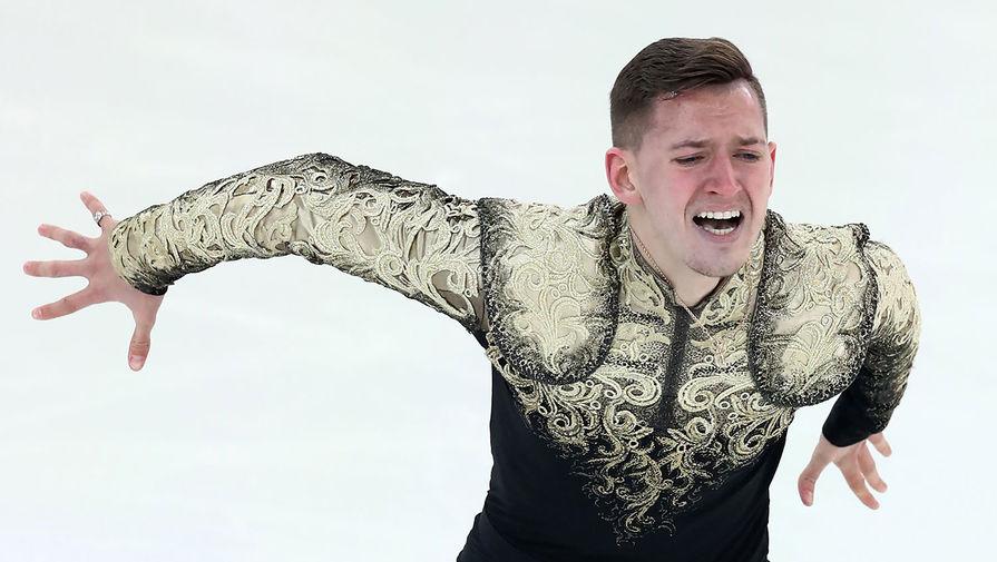 Максим Ковтун во время выступления в произвольной программе мужского одиночного катания на чемпионате России по фигурному катанию, 2018 год