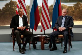 Президент США Барак Обама на встрече с президентом России Владимиром Путиным на полях саммита G8 в Северной Ирландии, 17 июня 2013 года