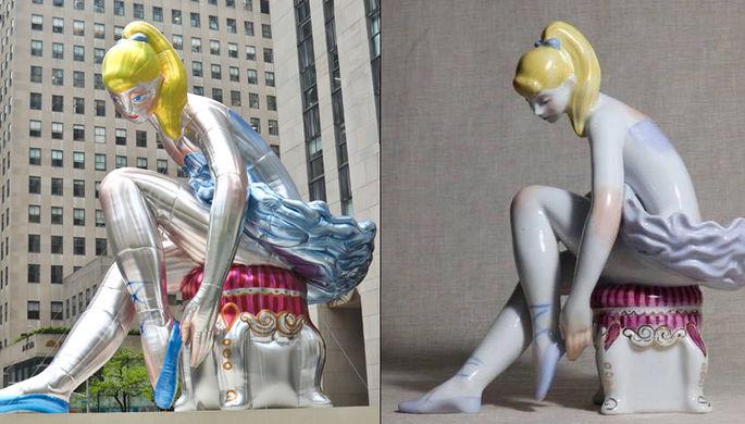 Балерина у Рокфеллер-центра в Нью-Йорке (слева) и статуэтка «Леночка на пуфике» Оксаны Жникруп (справа)