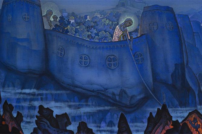 Картина Николая Рериха «Труды Богоматери», выставленная с оценкой 0,8–1,2 млн фунтов на «русском аукционе» дома Bonhams, принесла рекордные 7,88 млн фунтов