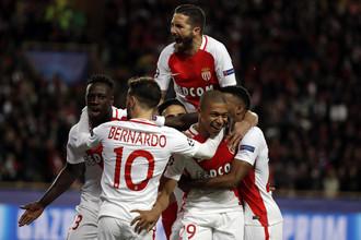 Футболисты «Монако» празднуют гол в ворота «Боруссии»