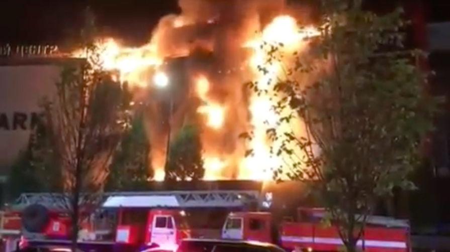 """Пожар в торговом центре «Ð""""ранд-парк» в центре Грозного, 19 сентября 2019 года"""