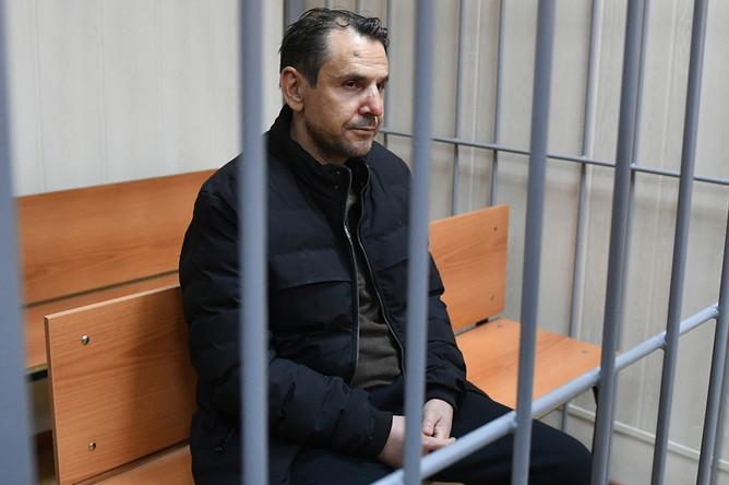 Борис Гриц во время рассмотрения ходатайства следствия об аресте в Пресненском суде Москвы, 24 октября 2017 года