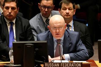 Постпред России при ООН Василий Небензя во время встречи Совбеза ООН по Сирии в Нью-Йорке, 9 апреля 2018 года