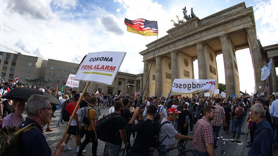 Протесты против коронавирусных ограничений в Берлине, август 2020 года