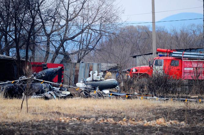 На месте крушения Су-25 в районе села Черниговка в Приморском крае
