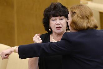 Депутаты Тамара Плетнева и Ирина Соколова на пленарном заседании Госдумы, 2015 год