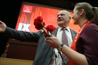 Геннадий Зюганов во время IX совместного пленума ЦК и ЦКРК КПРФ