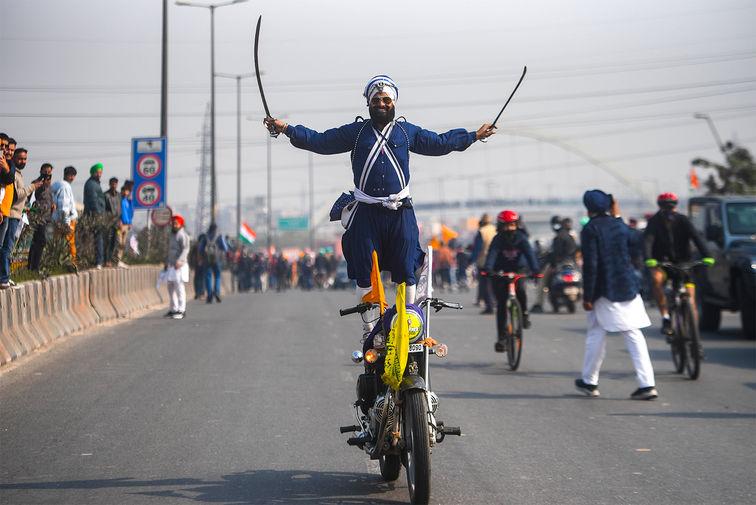 Во время протеста фермеров в Нью-Дейли, 26 января 2021 года