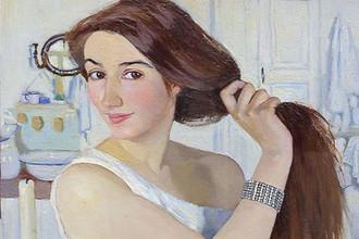 Фрагмент картины «За туалетом. Автопортрет» (1909)