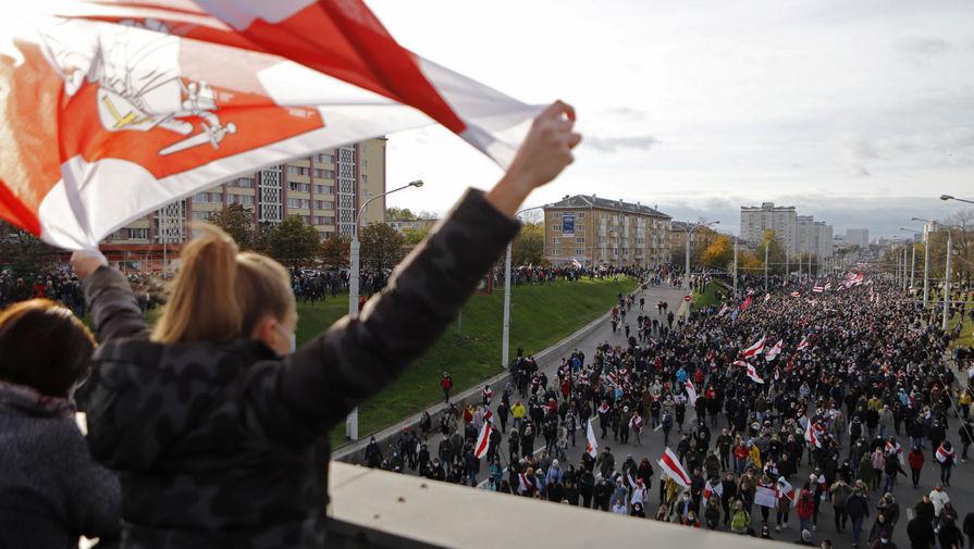Участники шествия оппозиции в Минске, 18 октября 2020 года