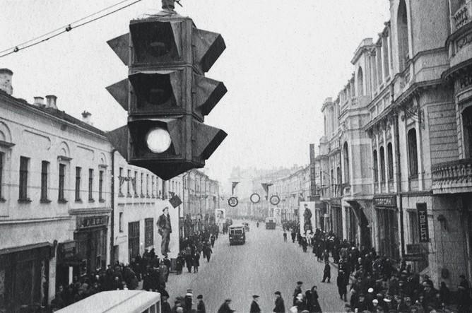 Первый светофор на Арбате, 1934 год