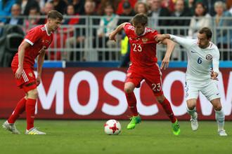Футболисты сборной России в товарищеском матче против национальной команды Чили