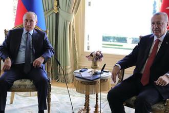 Президент России Владимир Путин и президент Турции Реджеп Тайип Эрдоган во время встречи в Стамбуле, 27 октября 2018 года