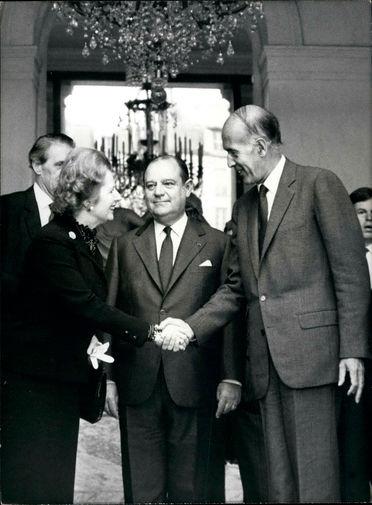 Премьер-министр Великобритании Маргарет Тэтчер, премьер-министр Франции Раймон Барр и президент Жискар д'Эстен во время встречи в Париже, 1979 год