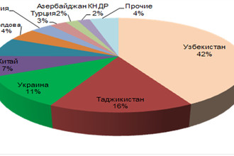 Рисунок 4. Основные страны — поставщики рабочей силы в Россию (% числа выданных разрешений на работу), 2012 год