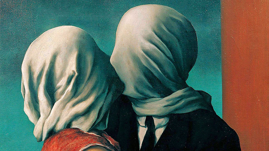 Рене Магритт. Влюбленные. 1928