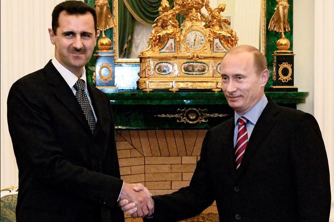 Башар Асад и Владимир Путин во время встречи в Кремле, 2006 год