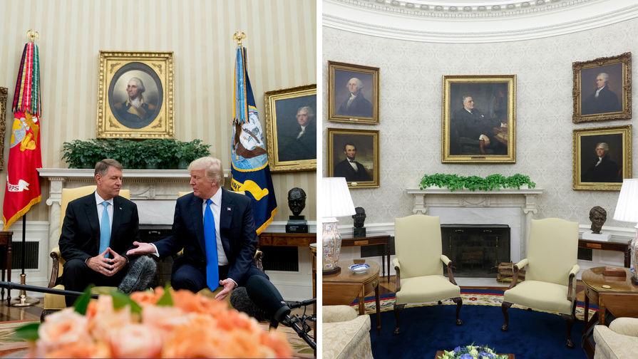 Интерьер Овального кабинета при Дональде Трампе и Джо Байдене (коллаж)