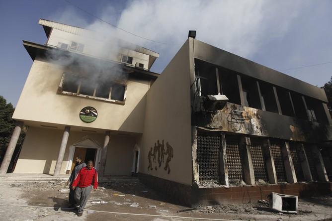 Сожженое здание футбольного союза