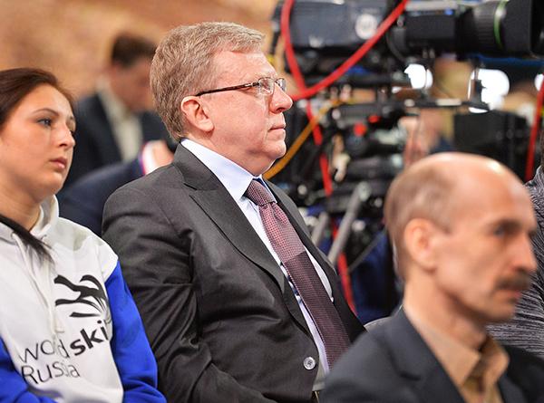 Алексей Кудрин на ежегодной специальной программе «Прямая линия с Владимиром Путиным» в Гостином Дворе