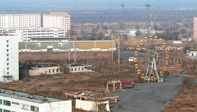 Вид на Припять — город, ставший зловещим памятником чернобыльской аварии