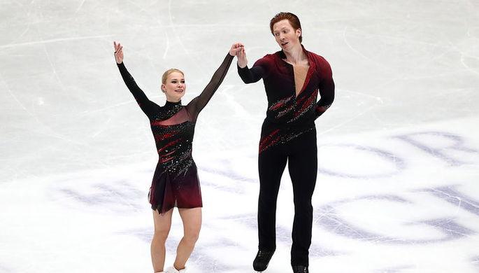 Российская спортивная пара Евгений Тарасова/Владимир Морозов после короткой программы на ЧМ.