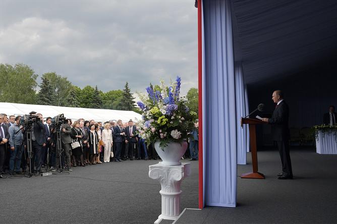 Президент России Владимир Путин во время торжественного приема в Кремле в честь Дня России, 12 июня 2017 года