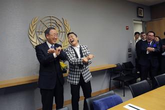 Генсек ООН Пан Ги Мун встретился с корейской поп-звездой PSY