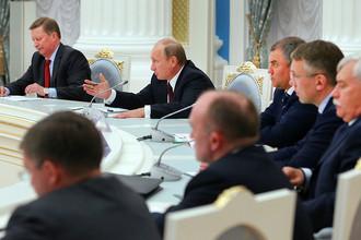Во время встречи с избранными высшими должностными лицами субъектов РФ