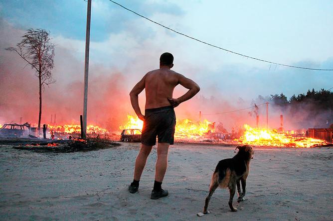 Житель деревни Передельцы у домов, сгоревших в результате лесных пожаров