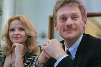 Пресс-секретарь президента России Дмитрий Песков со второй супругой Екатериной Солоцинской на мероприятии в Москве, 2011 год