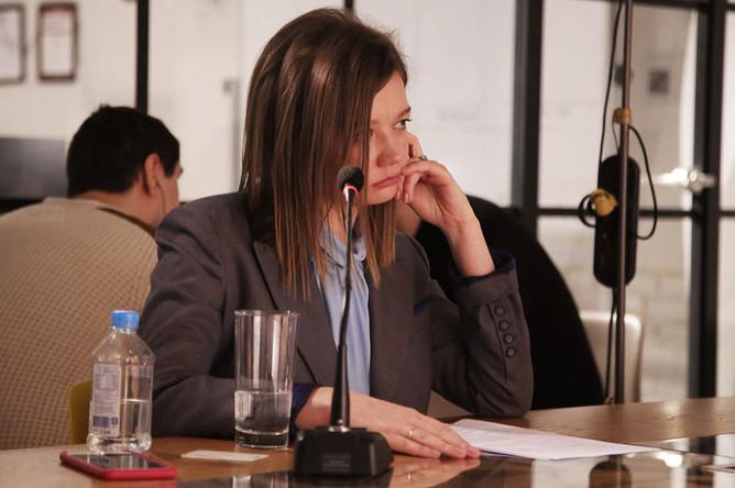 Главный редактор «Газеты.Ru» Ольга Алексеева и министр энергетики России Александр Новак во время интервью в редакции, 26 февраля 2019 года