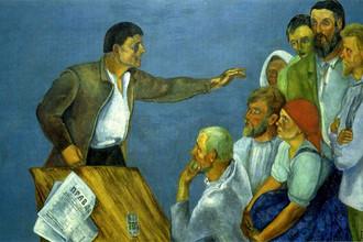 Давид Штеренберг. Митинг в деревне (Агитатор). 1929