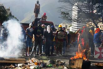 Во время протестов против президента страны Николаса Мадуро в Венесуэле
