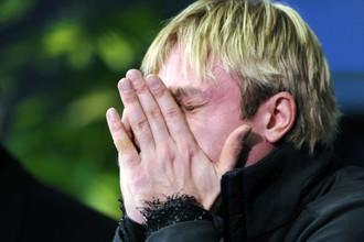 Евгений Плющенко после своего неудачного выступления в Загребе