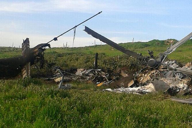 Сбитый вертолет ВВС Азербайджана в зоне карабахского конфликта