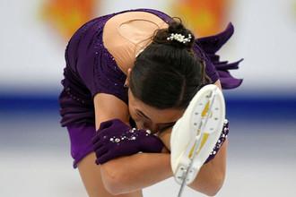 Станислава Константинова во время выступления в произвольной программе женского одиночного катания на чемпионате Европы по фигурному катанию в Минске, 25 января 2019 года