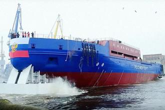 Спуск ледокола «Виктор Черномырдин» на воду, кадр из видео