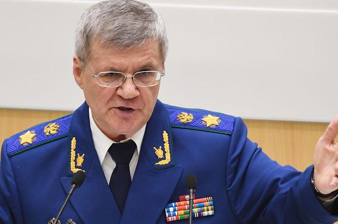 Генеральный прокурор России Юрий Чайка во время выступления на заседании Совета Федерации, 18 апреля 2018 года