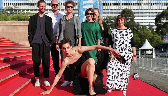 Актриса Ирина Горбачева, режиссер Борис Хлебников и актер Александр Яценко перед показом фильма...