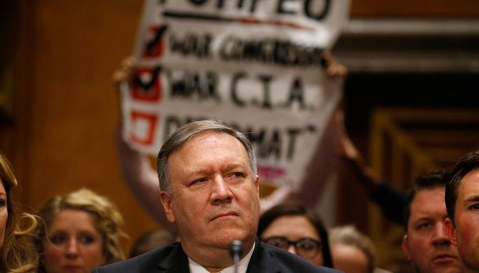 Экс-глава ЦРУ Майк Помпео выступает на слушаниях в американском конгрессе, 12 апреля 2018 год