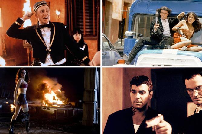 Кадры из фильмов «Четыре комнаты», «Однажды в Мексике», «Планета страха» и «От заката до рассвета»